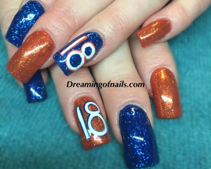 Denver Broncos glitter nails - Denver Broncos Nails - Dreaming Of Nails