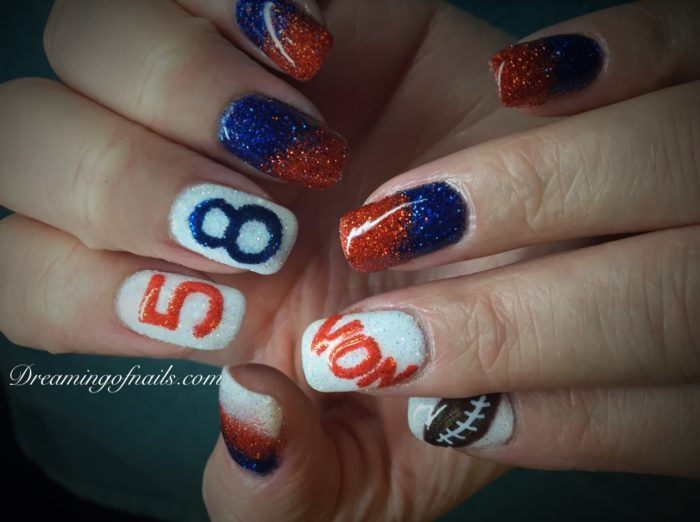Living in Denver, I love to help people show their team spirit by doing  Denver Bronco Nails. Though some of these designs are very tedious, ... - Denver Broncos Nails - Dreaming Of Nails