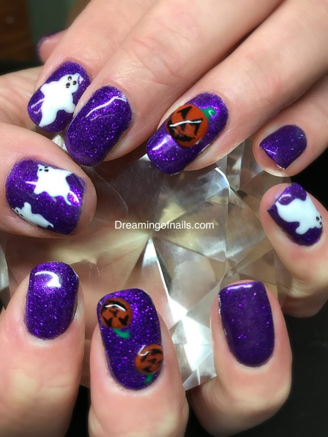 img_ghost and pumpkin Halloween nails