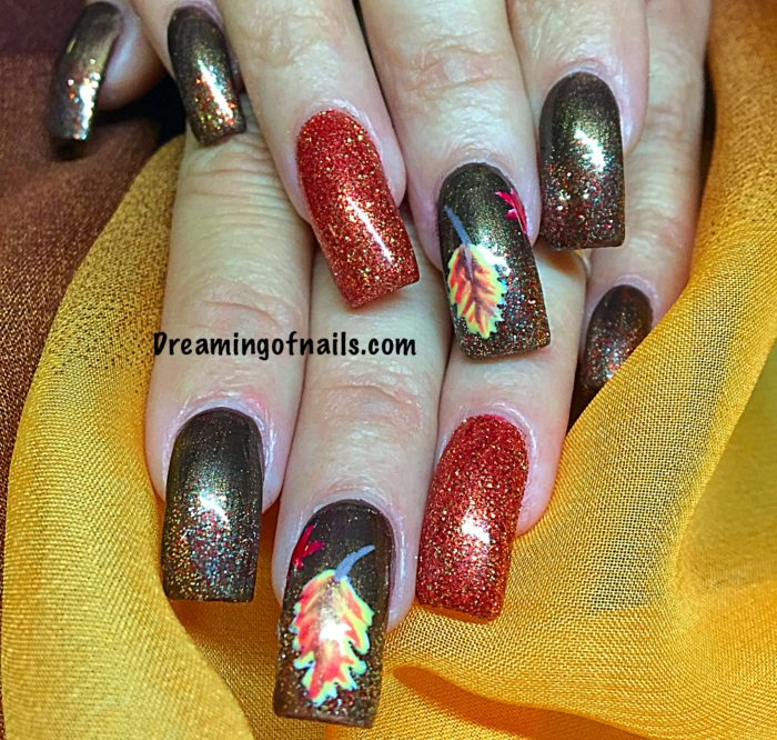 Orange and brown fall nails