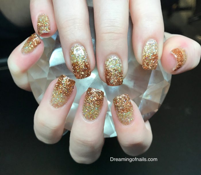 Fall nails with Bronze and champagne ombré glitter nail art