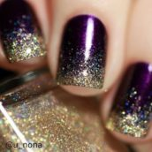 Purple and gold glitter ombré nails