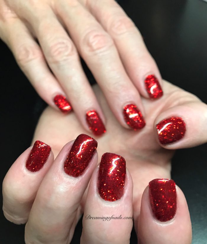 Bling Nails with red glitter