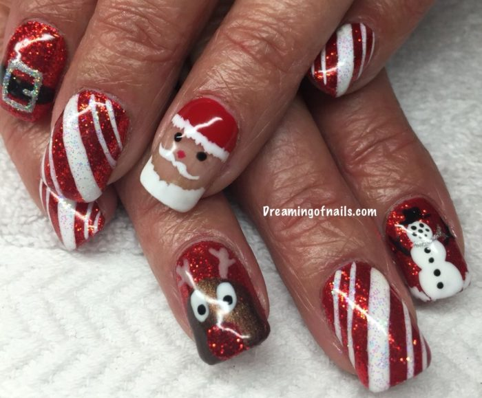 Red glitter Christmas nails with Santa, Rudolph, snowman, and Santa belt