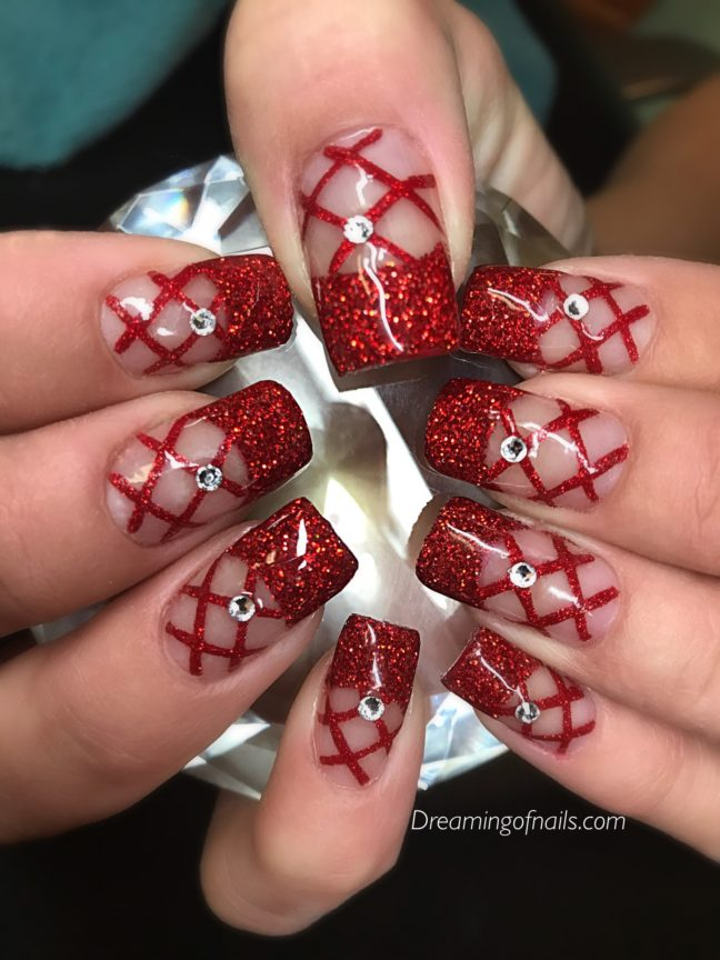Red glitter netting nails