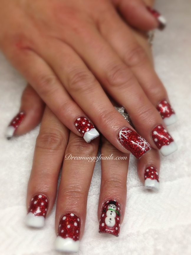 Red glitter snaowcapped nails with snowman, and snowflakes