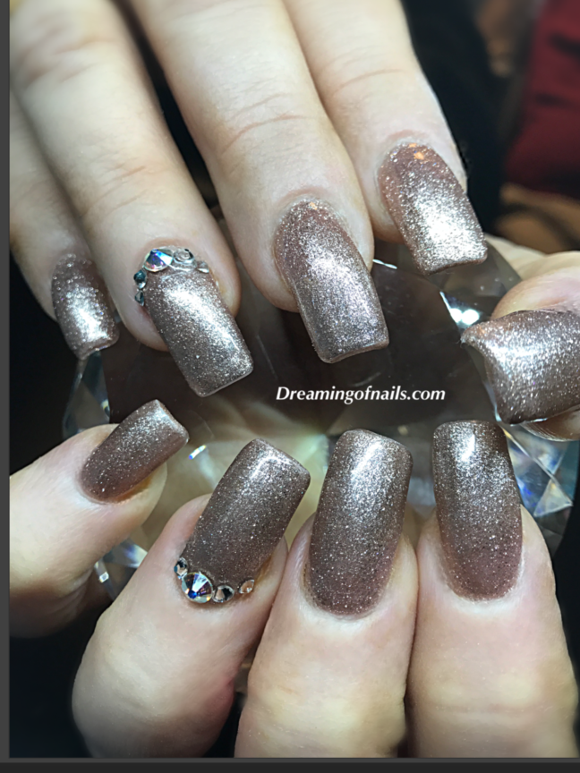 Champagne glitter nails with swarovski Crystals