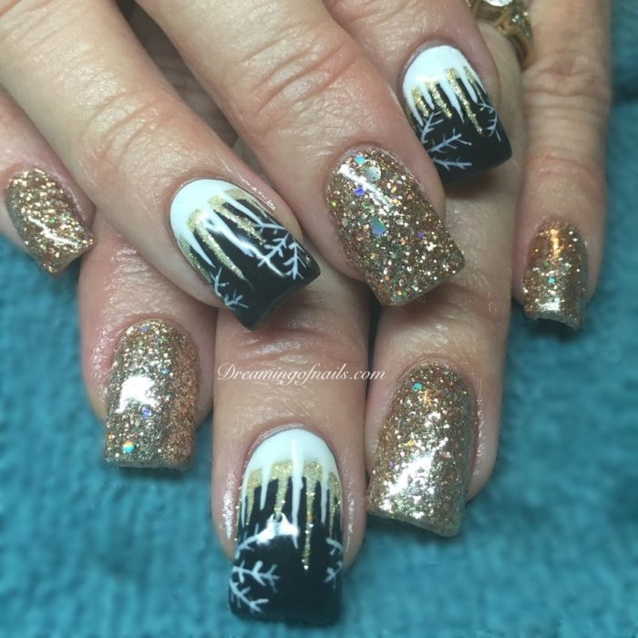 Gold glitter nails with hand painted icicles