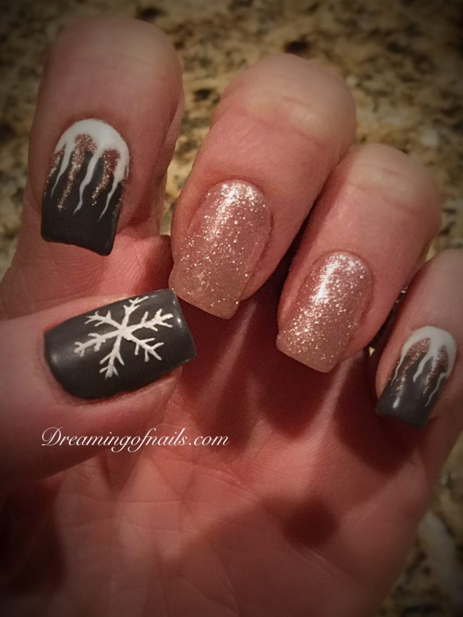 Gray and champagne nails with painted icicles and snowflakes