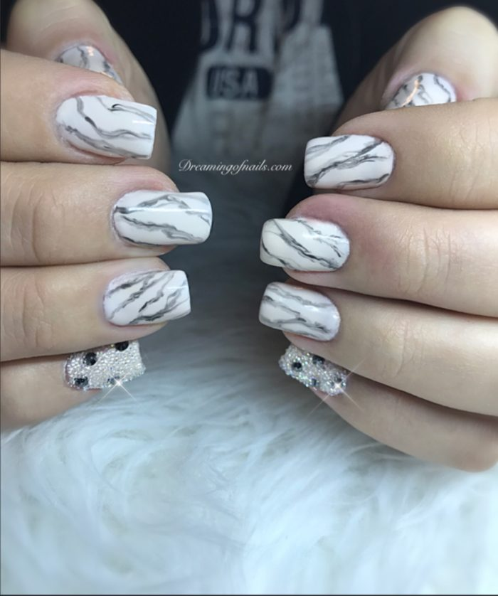 Marble nails with crystal pixie and Swarovski crystals