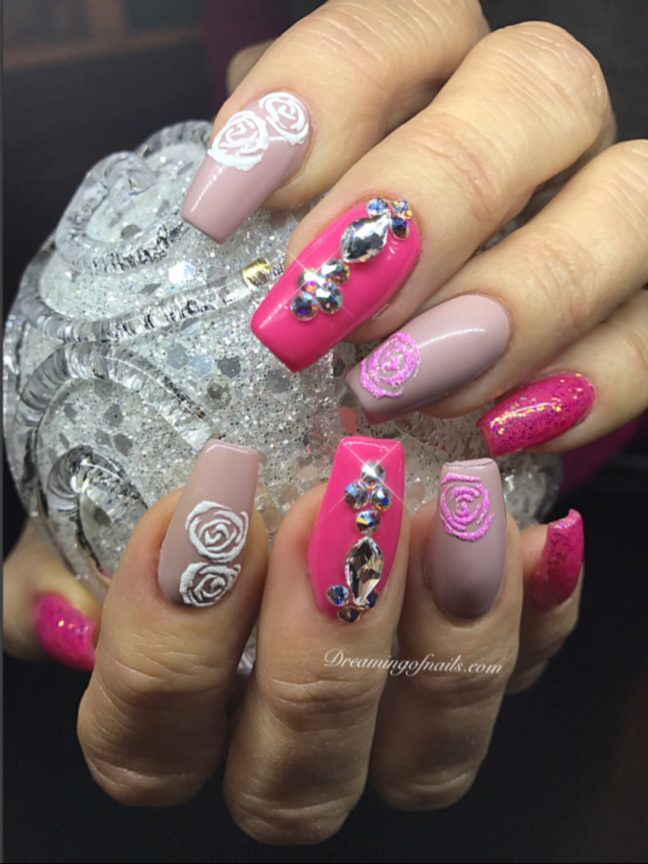 Pink nails with 3-d roses and Swarovski crystals