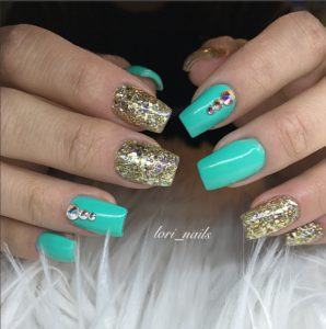 aqua and gold glitter nails with Swarovski crystals