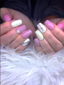 Pink and white nails with Swarovski crystals