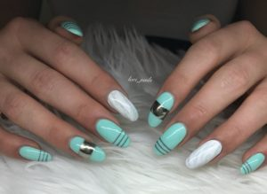 Turquoise nails with chrome and marble accents