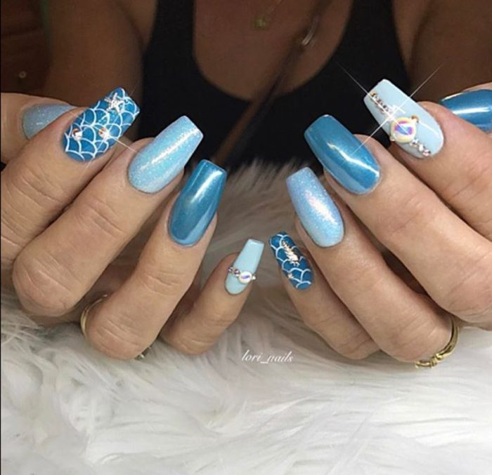 Blue mermaid nails with chrome and swarovski crystals