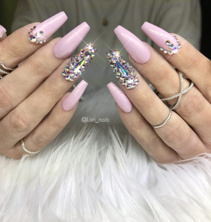 Pink bling nails with Swarovski crystals