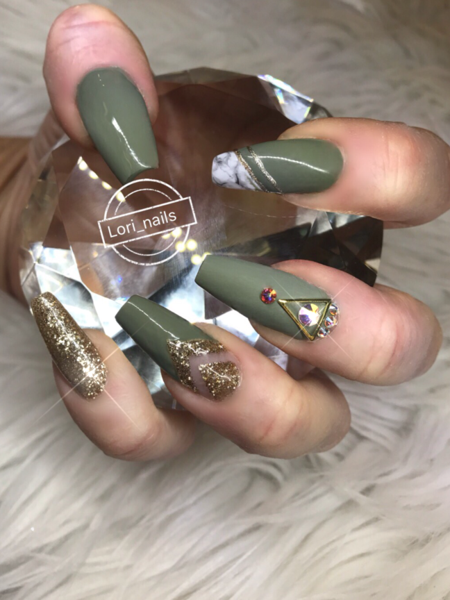 Army green and gold nail art with marble and swarovski crystals