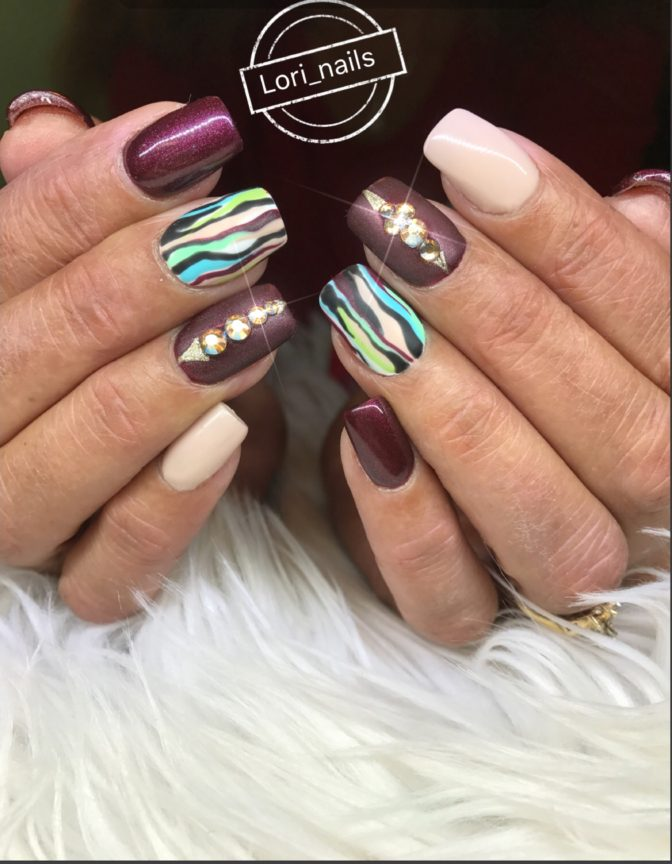 Burgundy and beige fall nail art with Swarovski crystals