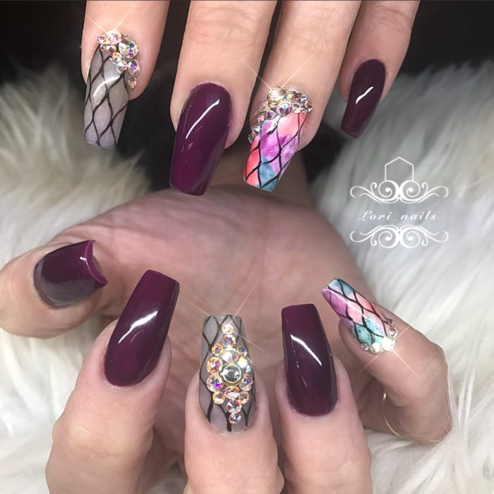 Fall nails with watercolor netting and Swarovski crystals