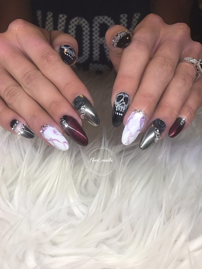 Halloween nails with Chrome, marble, skulls and Swarovski crystals
