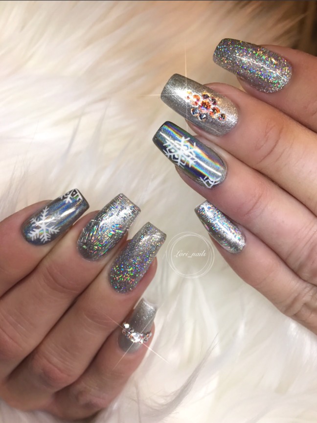Silver bling New Years nails
