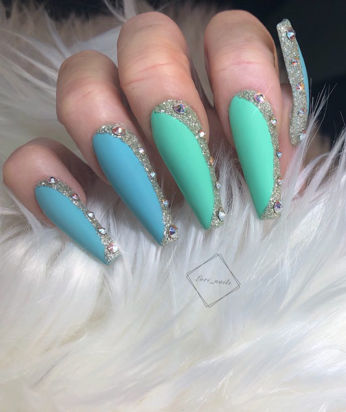 Blue and green nails with gold flitter and swarovski crystals
