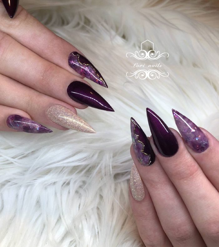 Plum purple and champagne marble nails