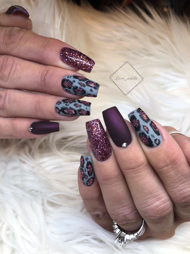 Purple and gray leopard nails with glitter