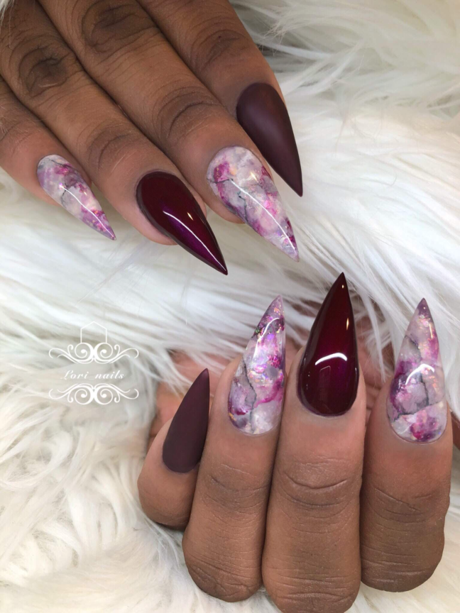 Purple and white marble nails
