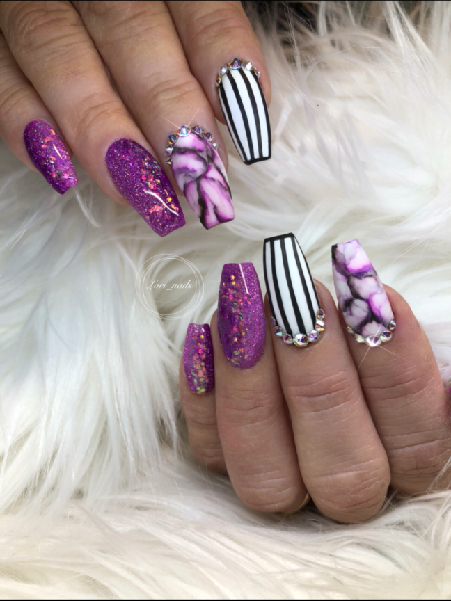 Purple Marble nails with black white stripes