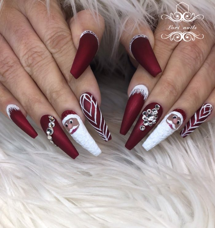 Red matte Santa nails with white glitter designs