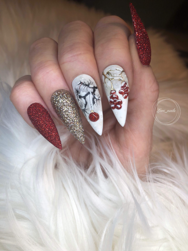 Red white and gold nails with trees and berries
