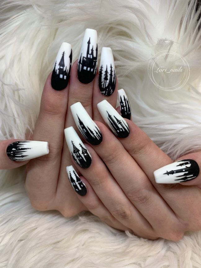 Black and white hand painted castle nails