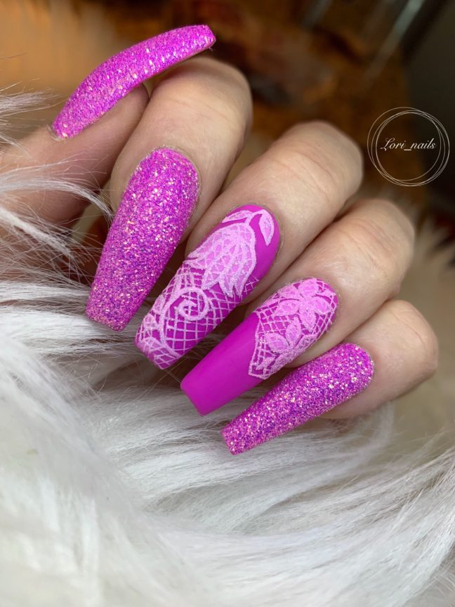 Fuchsia pink hand painted lace nail design with glitter