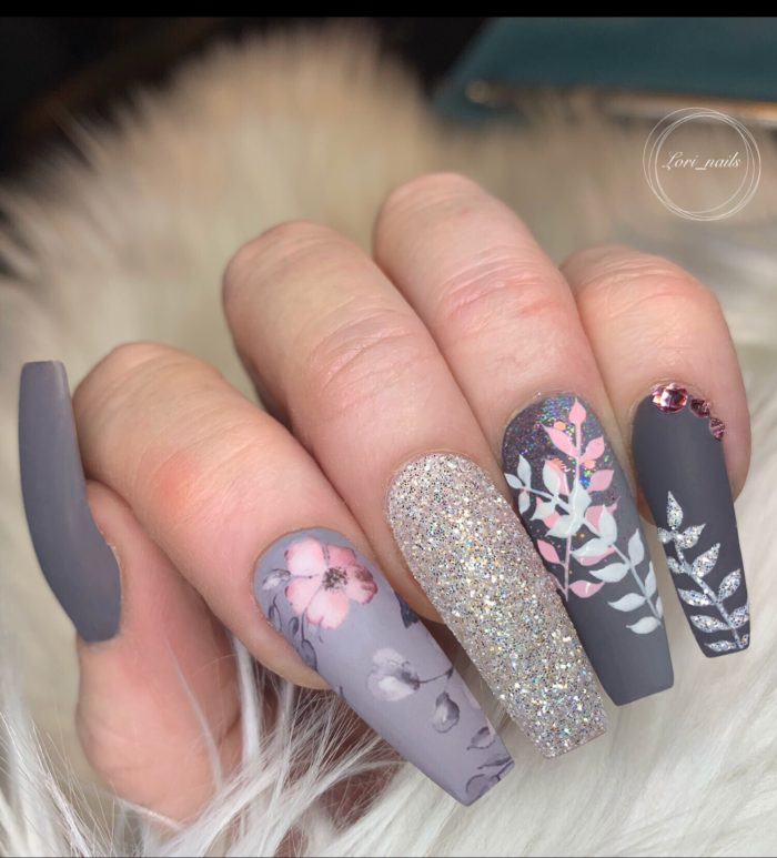 Gray and pink flower nails