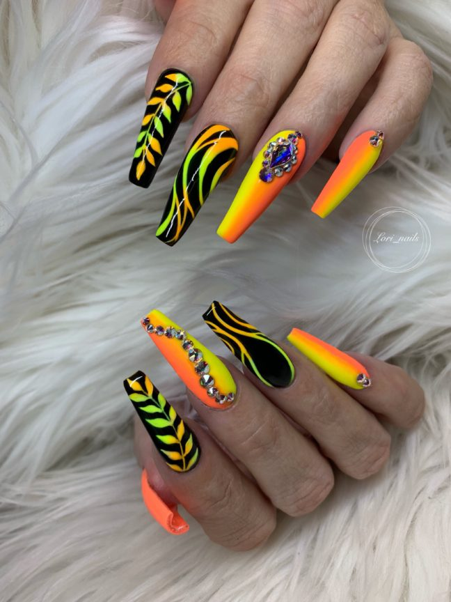 Neon orange and yellow design nails with Swarovski crystals