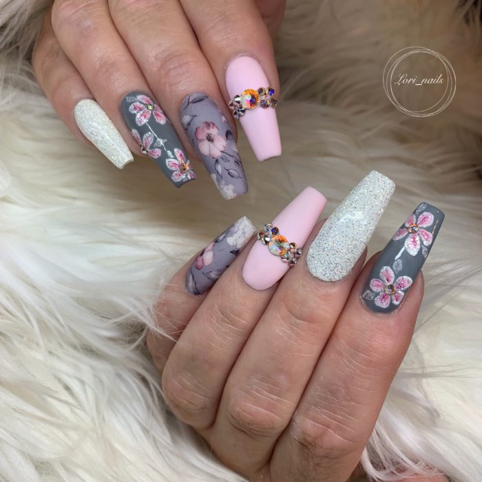 Pink and gray flower nails with Swarovski crystals and Glitter
