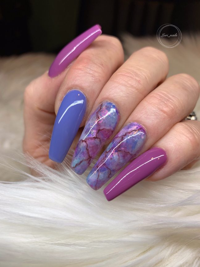 Purple and blue marble nails