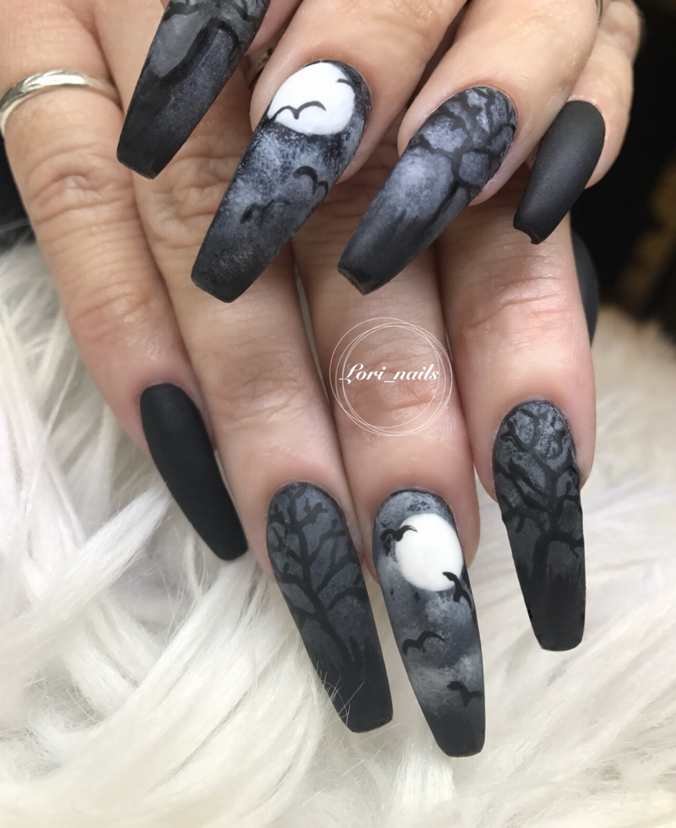 black-and-gray-halloween-nails-with-trees-and-bats
