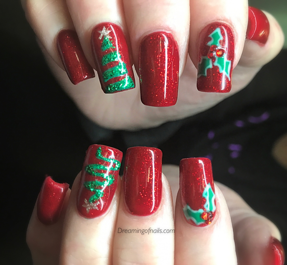 christmas nails - Red Christmas Nails