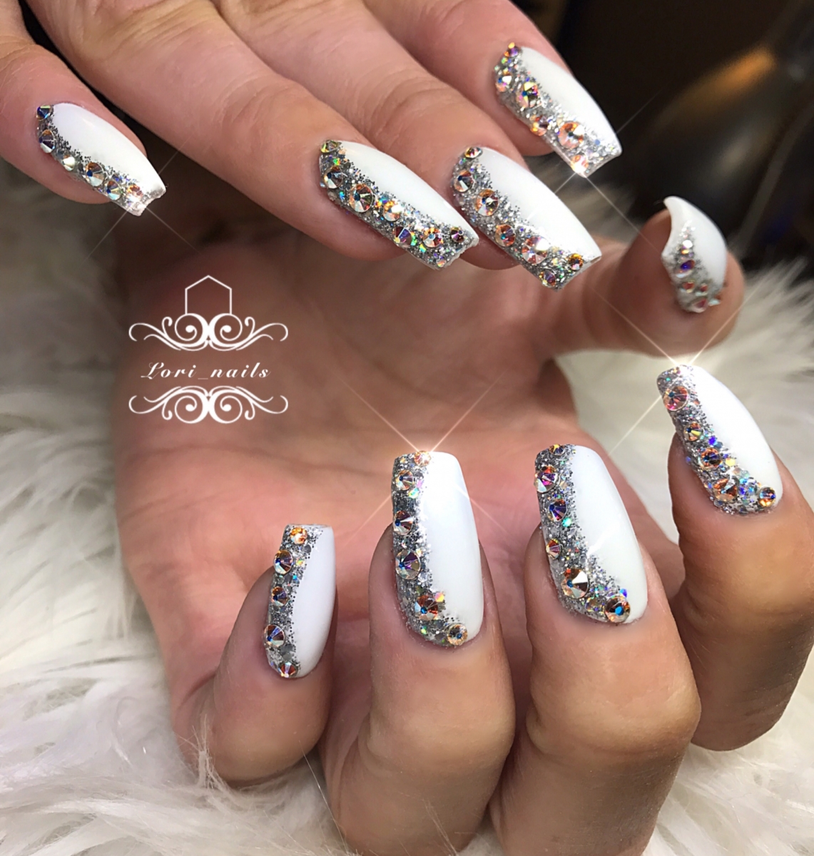 white-nails-with-glitter-and-swarovski-crystals